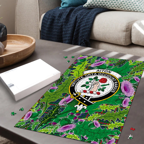 Image of Aiton Clan Crest Tartan Thistle Pattern Scotland Jigsaw Puzzle