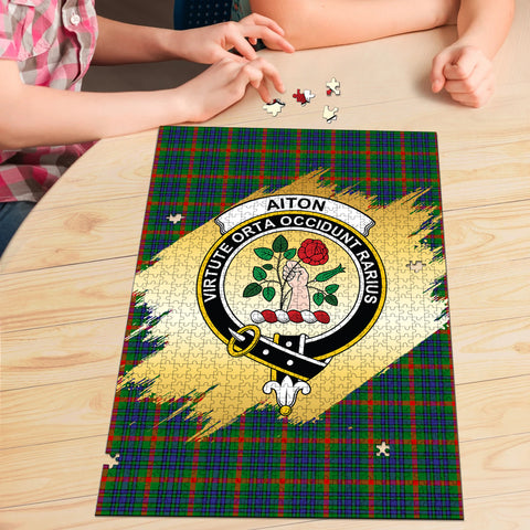 Image of Aiton Clan Crest Tartan Jigsaw Puzzle Gold