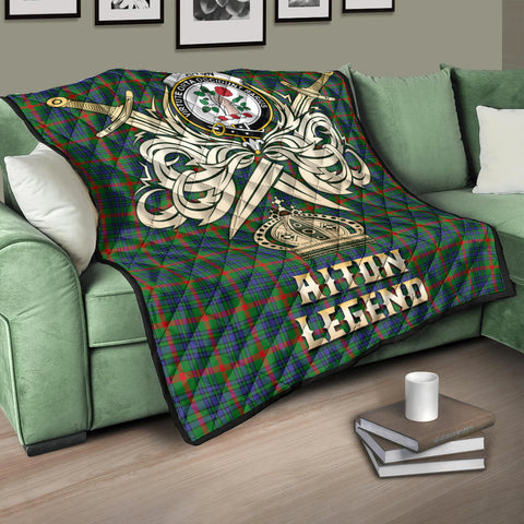 Aiton Clan Crest Tartan Scotland Clan Legend Gold Royal Premium Quilt K9