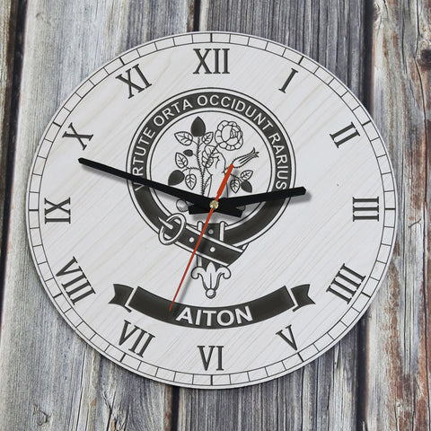 Aiton  Tartan Clan Badge Wooden Wall Clock
