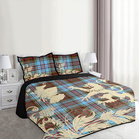 Image of Anderson Ancient Tartan Scotland Lion Thistle Map Quilt Bed Set Hj4