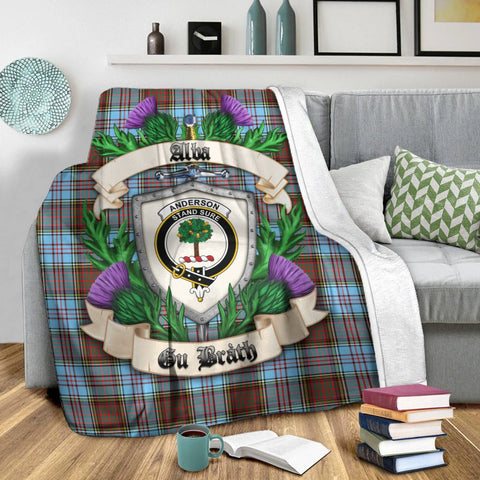 Anderson Ancient Crest Tartan Blanket Thistle  | Tartan Home Decor | Scottish Clan