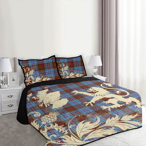 Anderson Modern Tartan Scotland Lion Thistle Map Quilt Bed Set Hj4