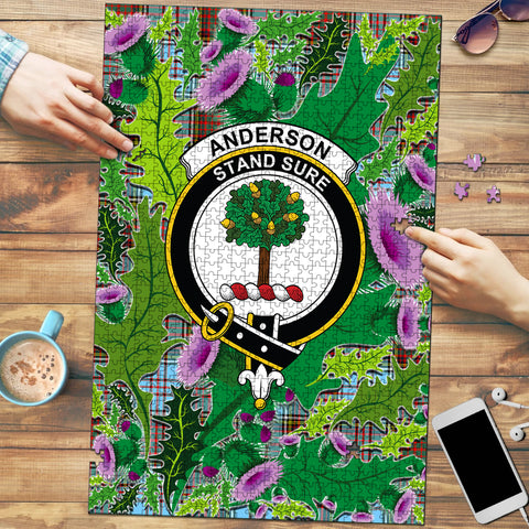 Anderson Ancient Clan Crest Tartan Thistle Pattern Scotland Jigsaw Puzzle