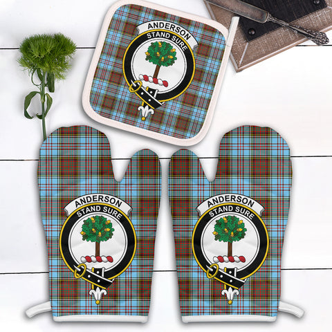 Anderson Ancient Clan Crest Tartan Scotland Oven Mitt And Pot-Holder (Set Of Two)