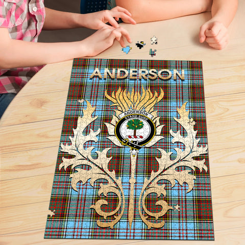 Anderson Ancient Clan Name Crest Tartan Thistle Scotland Jigsaw Puzzle