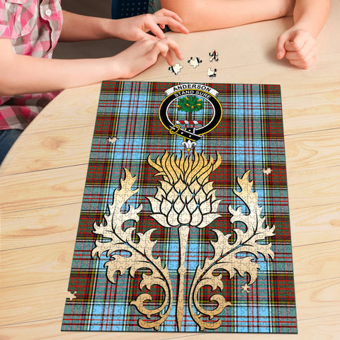 Anderson Ancient Clan Crest Tartan Thistle Gold Jigsaw Puzzle