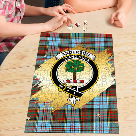 Image of Anderson Ancient Clan Crest Tartan Jigsaw Puzzle Gold