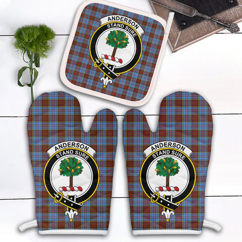 Anderson Modern Clan Crest Tartan Scotland Oven Mitt And Pot-Holder (Set Of Two)