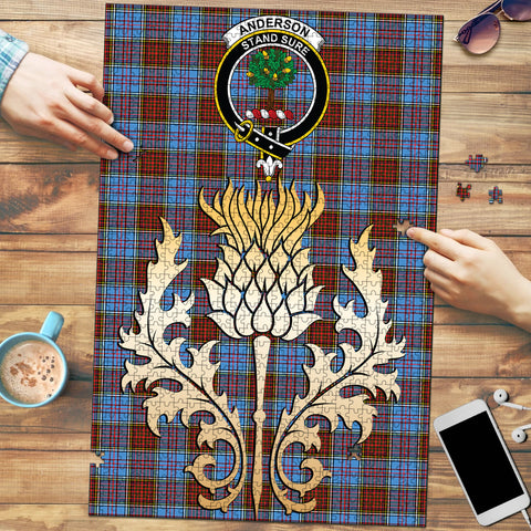 Anderson Modern Clan Crest Tartan Thistle Gold Jigsaw Puzzle