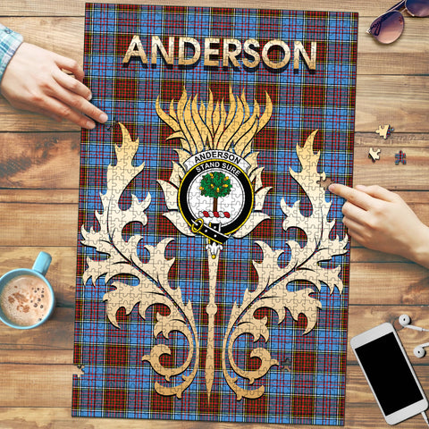 Anderson Modern Clan Name Crest Tartan Thistle Scotland Jigsaw Puzzle