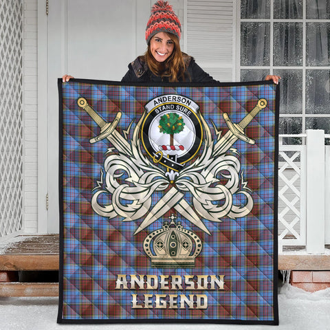 Anderson Modern Clan Crest Tartan Scotland Clan Legend Gold Royal Premium Quilt