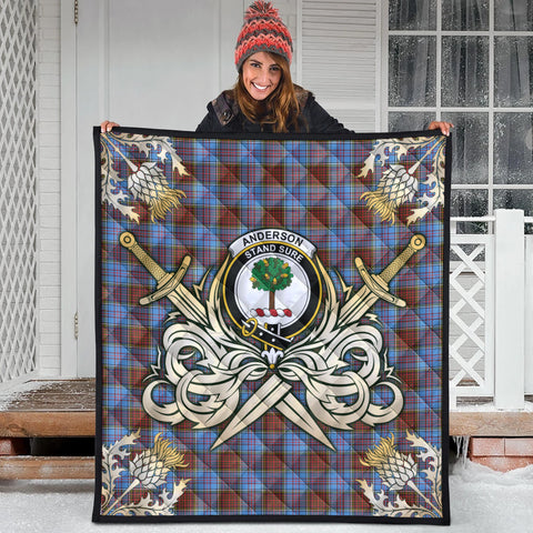 Image of Anderson Modern Clan Crest Tartan Scotland Thistle Symbol Gold Royal Premium Quilt