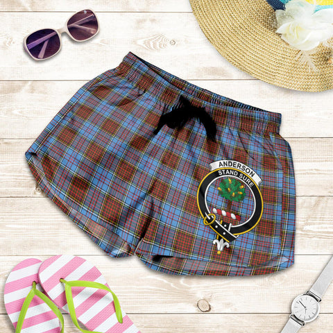 Image of Anderson Modern crest Tartan Shorts For Women
