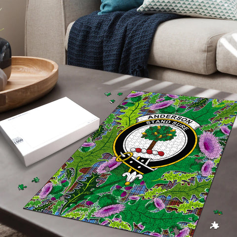Image of Anderson Modern Clan Crest Tartan Thistle Pattern Scotland Jigsaw Puzzle