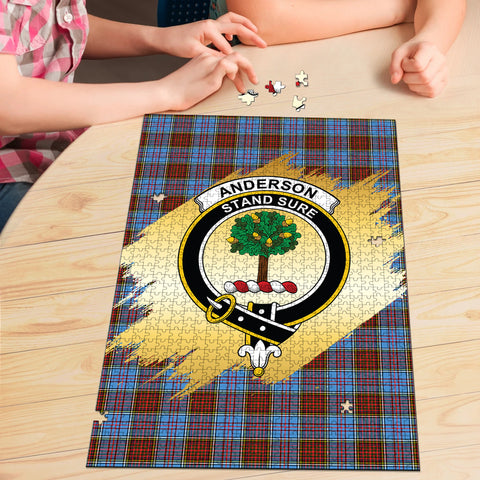 Image of Anderson Modern Clan Crest Tartan Jigsaw Puzzle Gold
