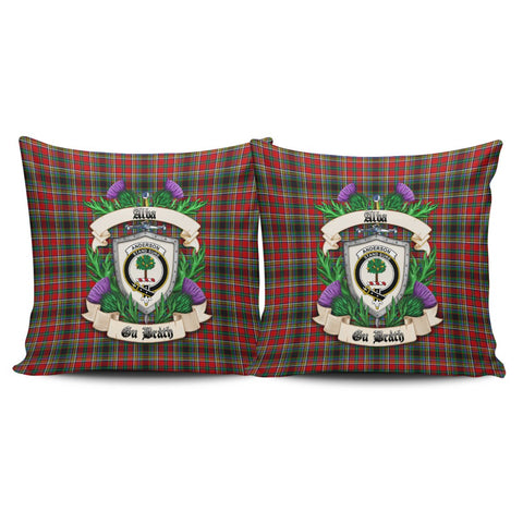 Anderson of Arbrake Crest Tartan Pillow Cover Thistle (Set of two) A91 | Home Set