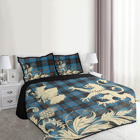 Image of Angus Ancient Tartan Scotland Lion Thistle Map Quilt Bed Set Hj4