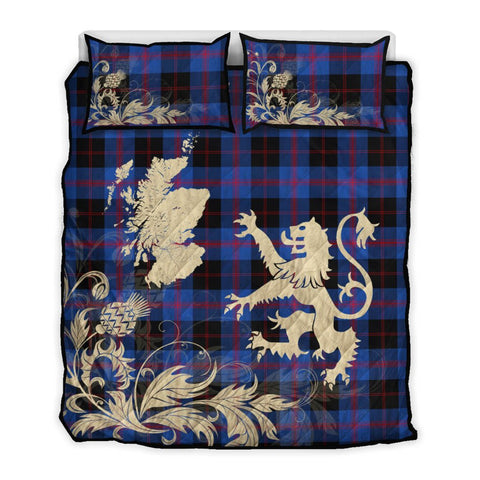 Image of Angus Modern Tartan Scotland Lion Thistle Map Quilt Bed Set Hj4