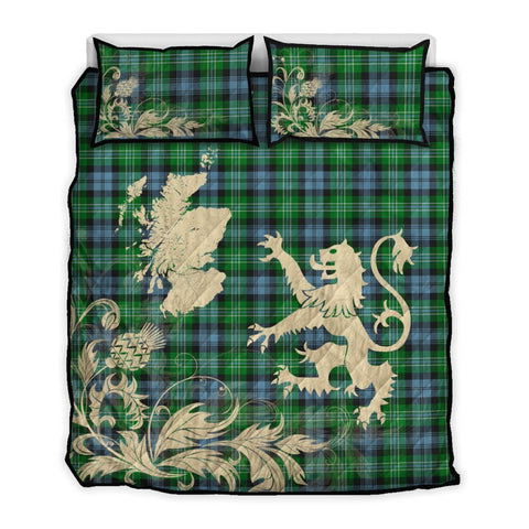 Image of Arbuthnot Ancient Tartan Scotland Lion Thistle Map Quilt Bed Set Hj4