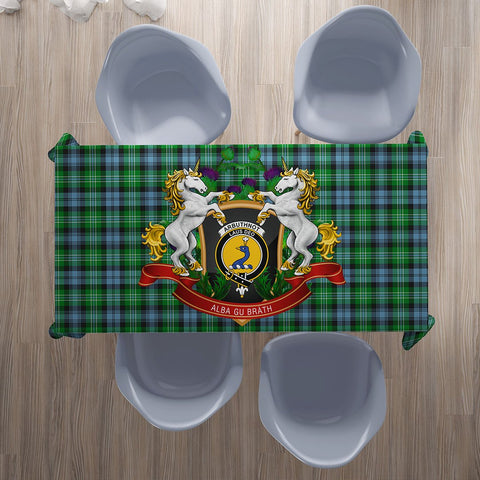 Arbuthnot Ancient Crest Tartan Tablecloth Unicorn Thistle | Home Decor