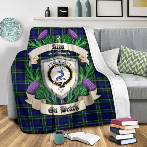 Arbuthnot Modern Crest Tartan Blanket Thistle  | Tartan Home Decor | Scottish Clan