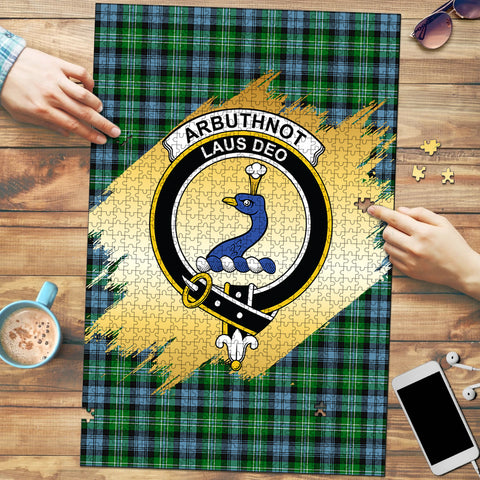 Image of Arbuthnot Ancient Clan Crest Tartan Jigsaw Puzzle Gold