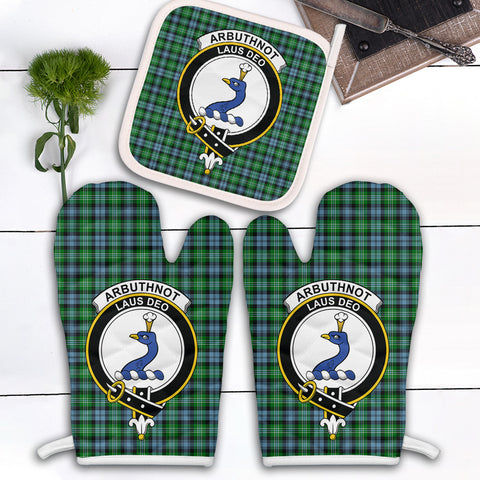 Image of Arbuthnot Ancient Clan Crest Tartan Scotland Oven Mitt And Pot-Holder (Set Of Two)