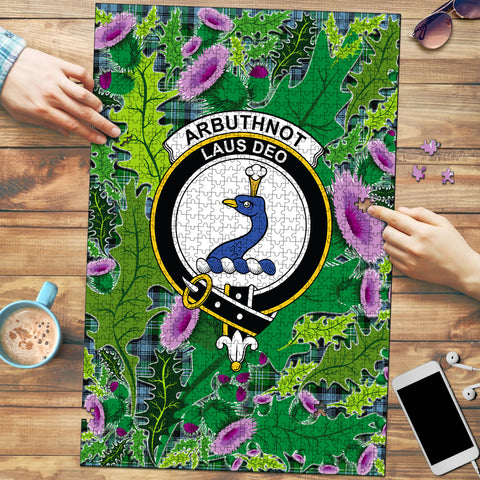 Image of Arbuthnot Ancient Clan Crest Tartan Thistle Pattern Scotland Jigsaw Puzzle