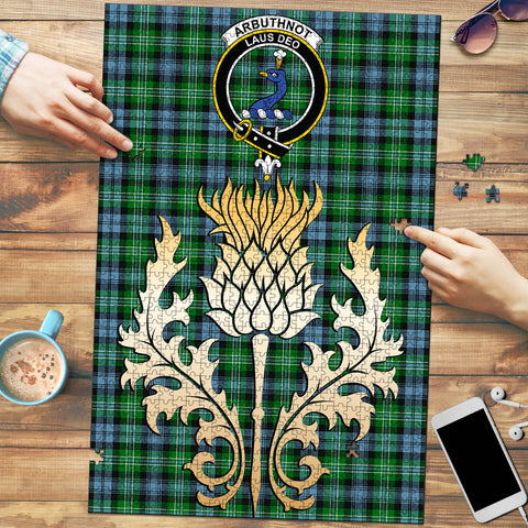 Image of Arbuthnot Ancient Clan Crest Tartan Thistle Gold Jigsaw Puzzle