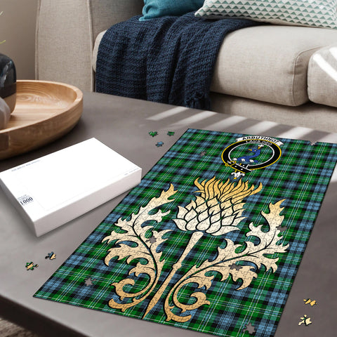 Arbuthnot Ancient Clan Crest Tartan Thistle Gold Jigsaw Puzzle