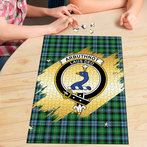 Arbuthnot Ancient Clan Crest Tartan Jigsaw Puzzle Gold