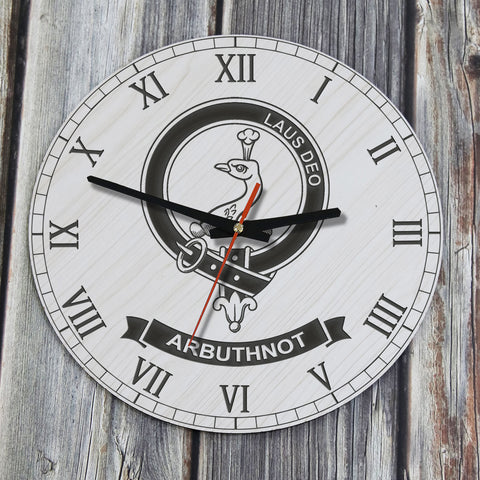 Arbuthnot  Tartan Clan Badge Wooden Wall Clock