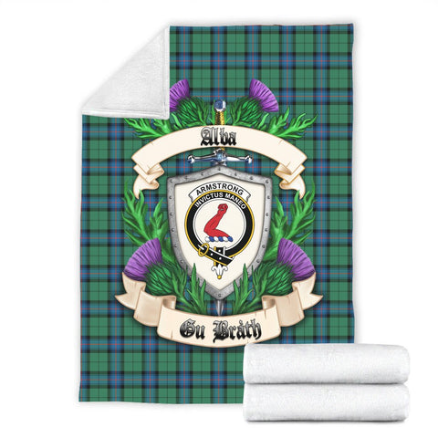 Image of Armstrong Ancient Crest Tartan Blanket Thistle  | Tartan Home Decor | Scottish Clan