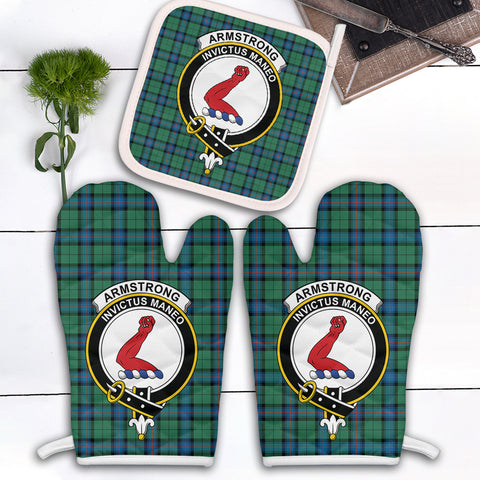 Armstrong Ancient Clan Crest Tartan Scotland Oven Mitt And Pot-Holder (Set Of Two)
