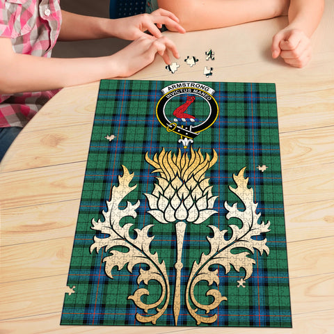 Armstrong Ancient Clan Crest Tartan Thistle Gold Jigsaw Puzzle