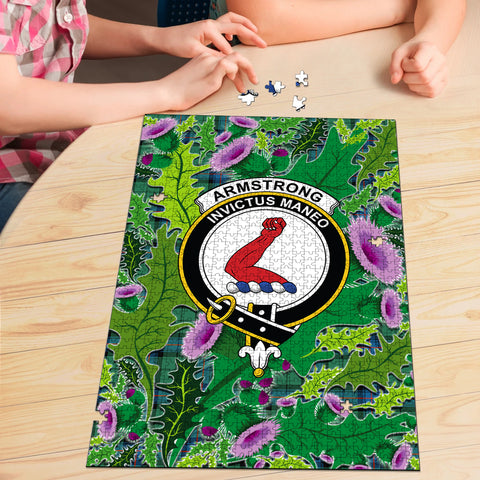 Armstrong Ancient Clan Crest Tartan Thistle Pattern Scotland Jigsaw Puzzle