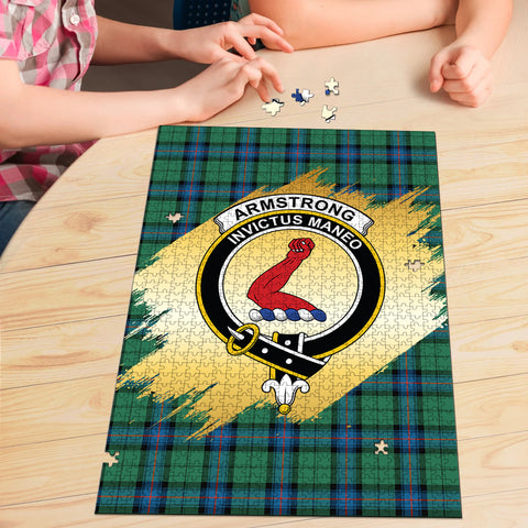 Armstrong Ancient Clan Crest Tartan Jigsaw Puzzle Gold