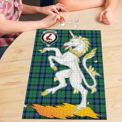 Armstrong Ancient Clan Crest Tartan Unicorn Scotland Jigsaw Puzzle
