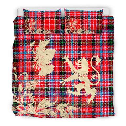 Aberdeen District Tartan Scotland Lion Thistle Map Bedding Set HJ4