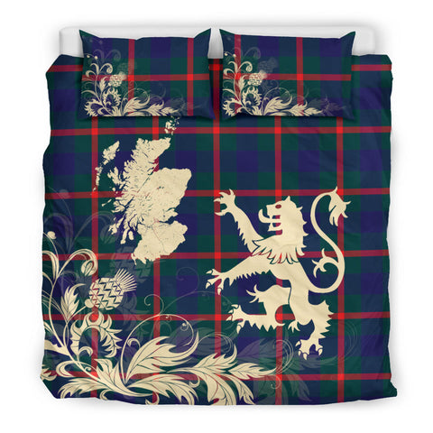 Agnew Modern Tartan Scotland Lion Thistle Map Bedding Set HJ4