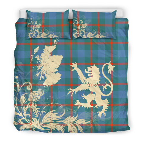 Agnew Ancient Tartan Scotland Lion Thistle Map Bedding Set HJ4