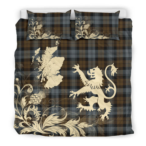 BlackWatch Weathered Tartan Scotland Lion Thistle Map Bedding Set HJ4