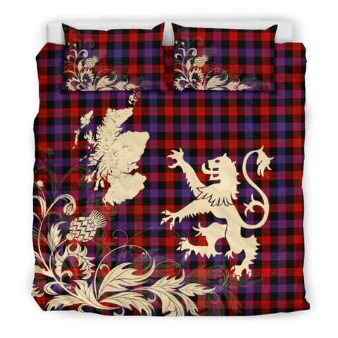 Brown Modern Tartan Scotland Lion Thistle Map Bedding Set HJ4