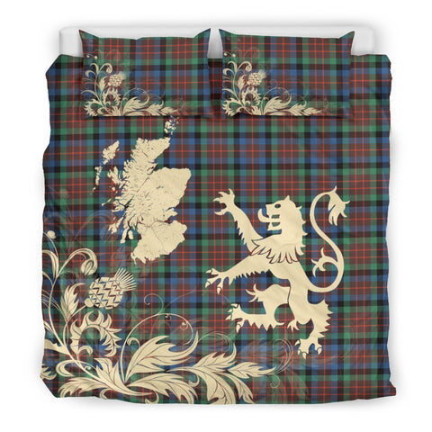 Image of MacDuff Hunting Ancient Tartan Scotland Lion Thistle Map Bedding Set HJ4