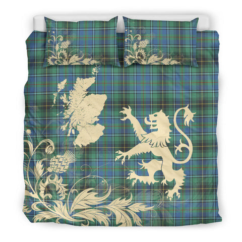MacInnes Ancient Tartan Scotland Lion Thistle Map Bedding Set HJ4