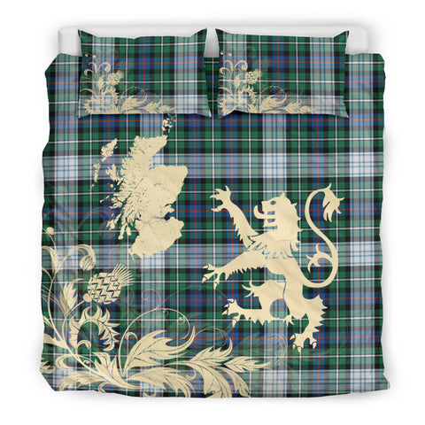 MacKenzie Dress Ancient Tartan Scotland Lion Thistle Map Bedding Set HJ4