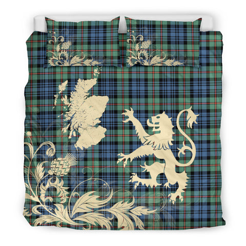 MacKinlay Ancient Tartan Scotland Lion Thistle Map Bedding Set HJ4