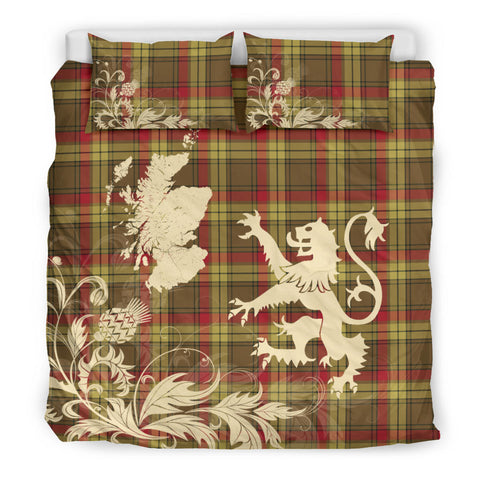 Image of MacMillan Old Weathered Tartan Scotland Lion Thistle Map Bedding Set HJ4