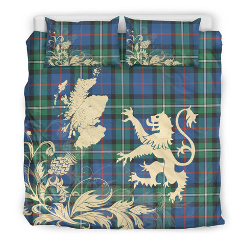MacPhail Hunting Ancient Tartan Scotland Lion Thistle Map Bedding Set HJ4